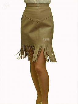Higgs Leathers HALF PRICE SAVE £50!  Dacey (ladies Fringed Taupe Leather skirt)